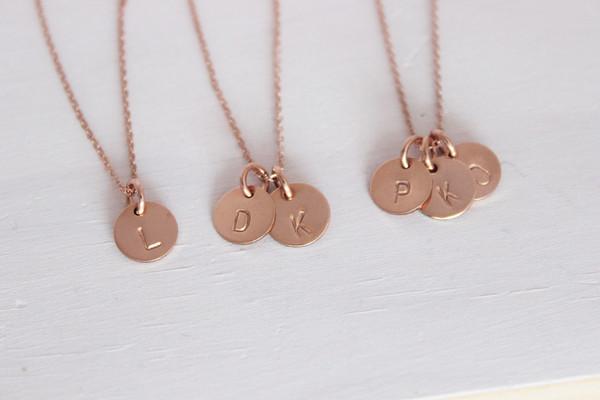 """3/8"""" petite initials necklace • 14k gold filled"""