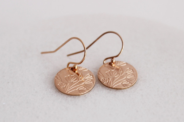 round floral disc earrings