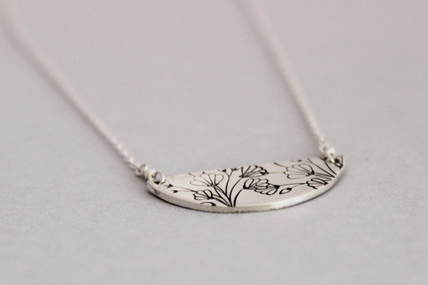 silver floral half moon