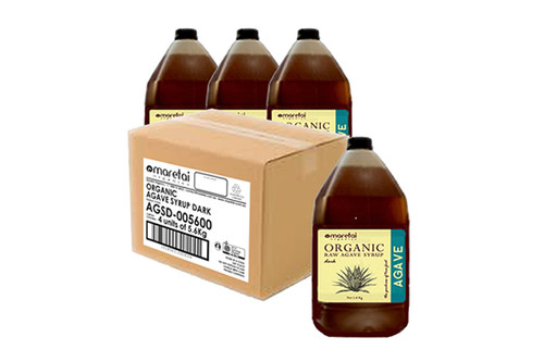 Maretai - Bulk Organic Agave Syrup / Agave Nectar Dark - 4 x Gallon 5.6kg - Carton of 4