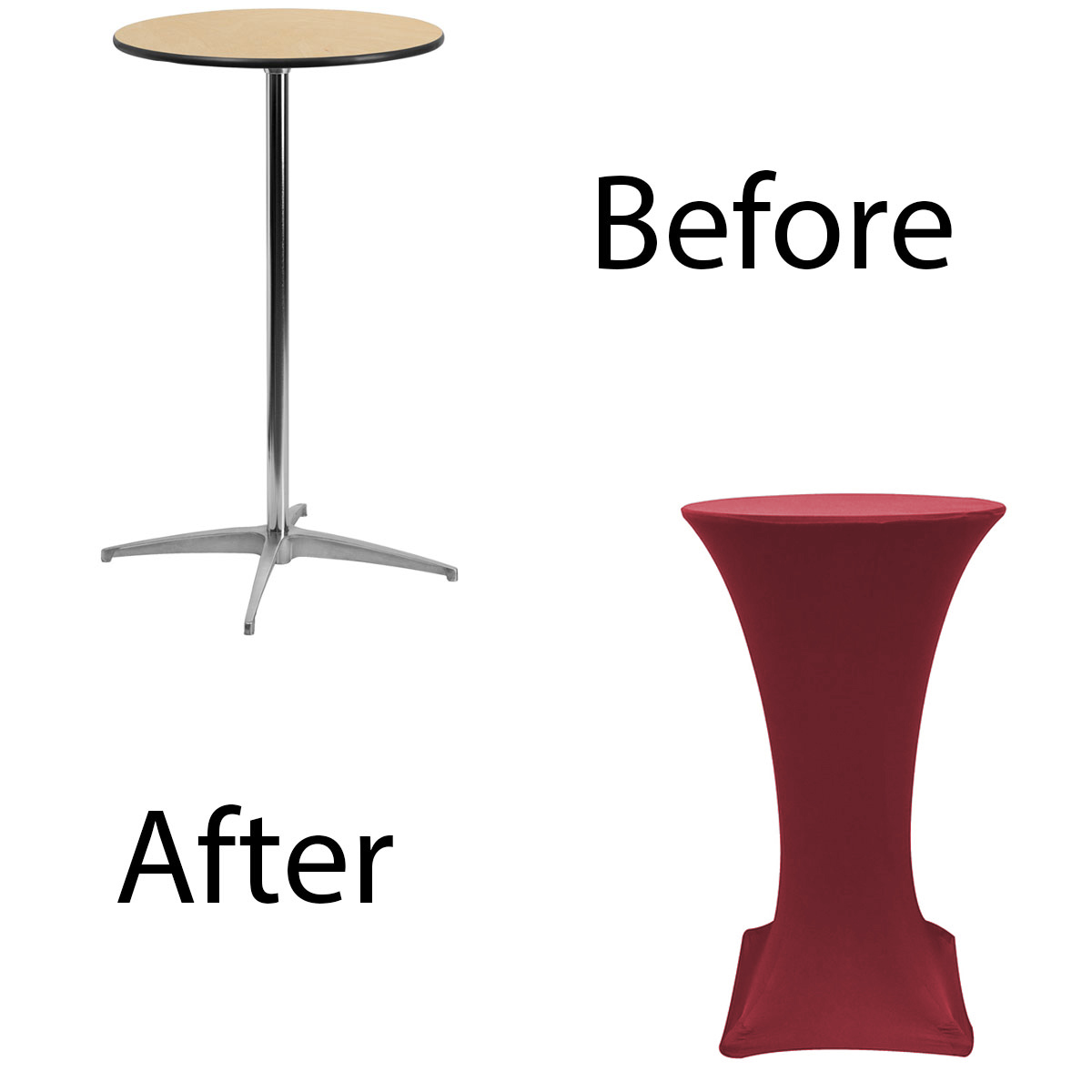 24-inch-highboy-cocktail-spandex-table-covers-burgundy-before-after.jpg