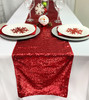 14 x 108 Inch Glitz Sequin Table Runner Red