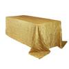 90 x 132 inch Rectangular Crinkle Taffeta Tablecloths Gold