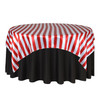 72 Inch Square Satin Table Overlay Red/White Striped