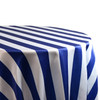 120 Inch Round Satin Tablecloth Royal Blue/White Striped