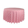 108 Inch Round Polyester Tablecloth Checkered Red