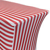 Stretch Spandex 8 Ft Rectangular Table Cover Red/White Striped zoom