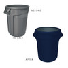 Copy of 32 Gallon Spandex Trash Can/Waste Container Cover Navy Blue before and after