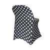 Stretch Spandex Folding Chair Covers Black and White Polka Dot  side view