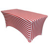 Stretch Spandex 4 ft Rectangular Table Cover Red and White Striped