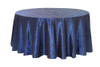 132 Inch Pintuck Taffeta Round Tablecloths Navy Blue