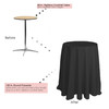 120 inch Round Polyester Tablecloths Black on 30 inch cocktail table