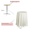 120 inch Round Polyester Tablecloths Ivory on 30 inch cocktail table