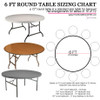 How to Buy Ivory Satin Tablecloths for 6 ft Round Tables? Use this Tablecloth Sizing Guide, a quick and easy printable table cloth sizing chart. 120 inch round table linens will fully drape a 5 ft round table or 60 inch . Check the image for your other table cover measurement options.