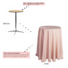 120 inch Round Polyester Tablecloths Blush on 30 inch cocktail table