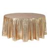 132 inch Round Glitz Sequin Tablecloths Champagne