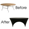 Stretch Spandex 6 ft Round Sides Open Table Covers Black Before and After