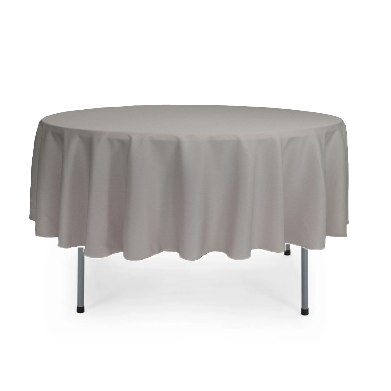 90 Inch Round Polyester Tablecloth Gray Your Chair Covers Inc