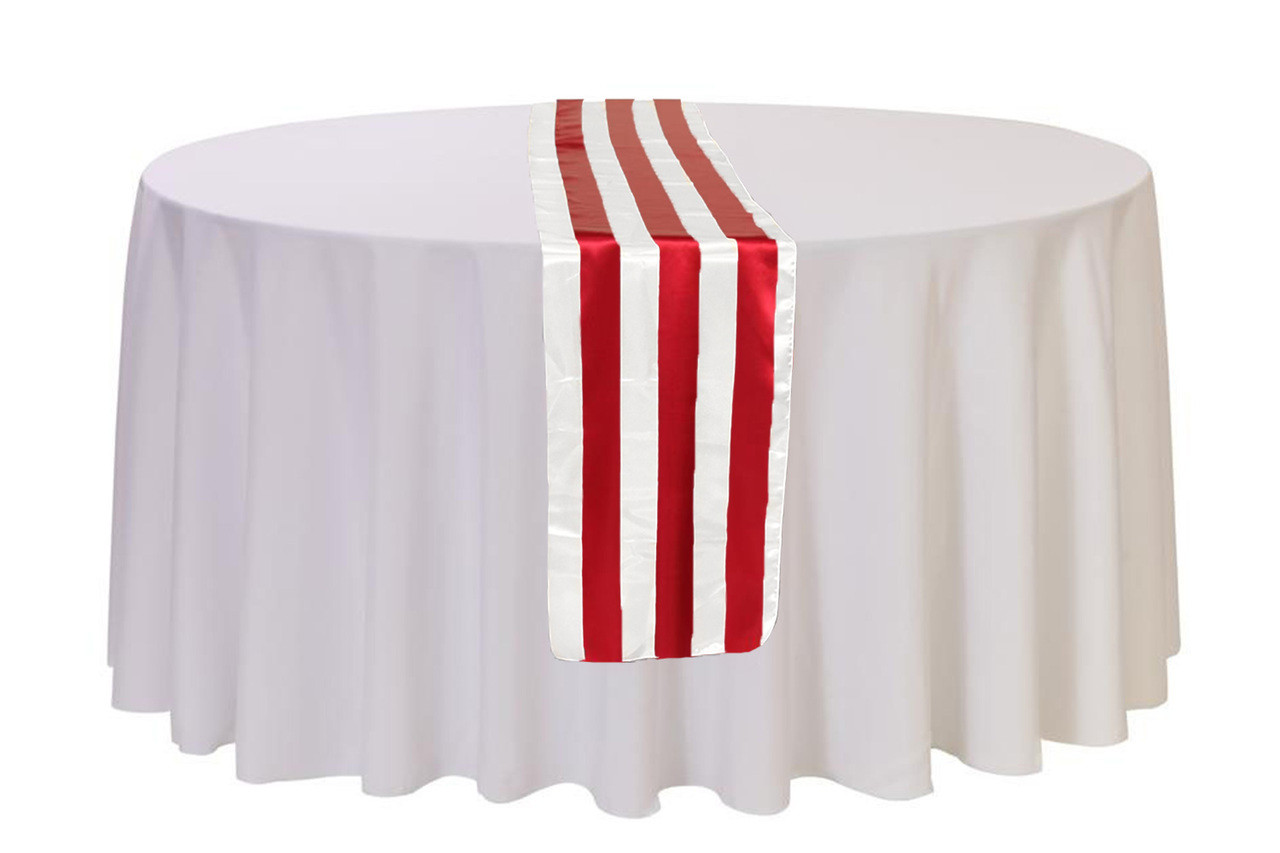 14 X 108 Inch Satin Table Runner Redwhite Striped Your Chair