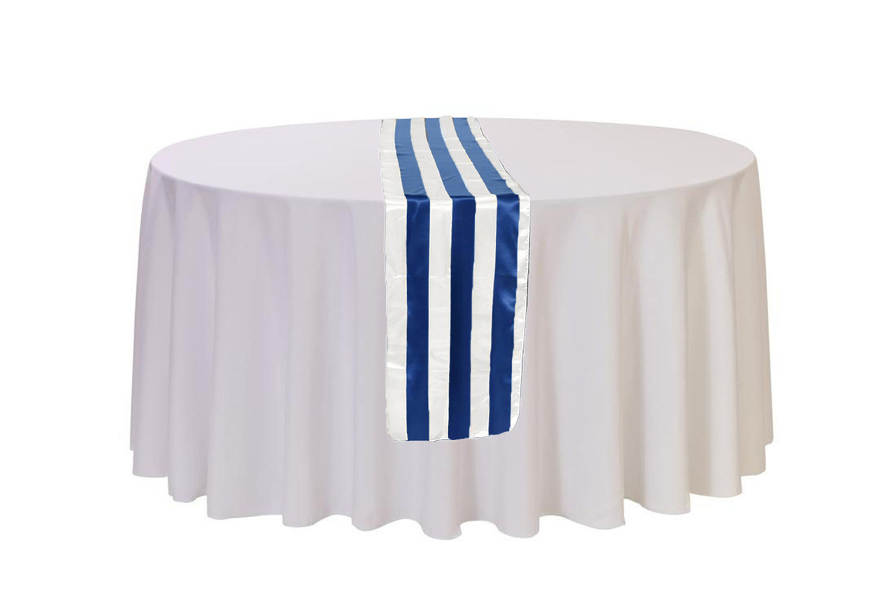 14 X 108 Inch Satin Table Runner Royal Bluewhite Striped Your