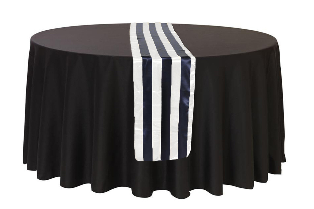 14 X 108 Inch Satin Table Runner Navy Blue White Striped