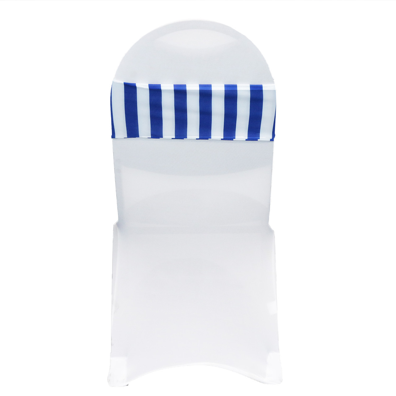 Superb 10 Pack Stretch Spandex Striped Chair Bands Royal Blue White Pabps2019 Chair Design Images Pabps2019Com