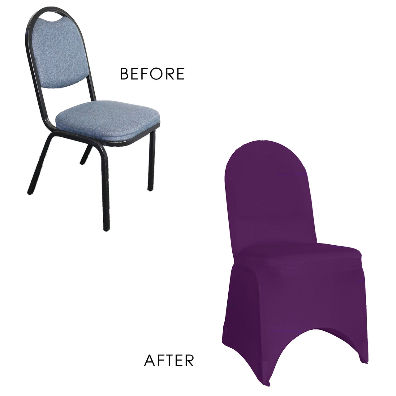 Awe Inspiring Stretch Spandex Banquet Chair Cover Eggplant Machost Co Dining Chair Design Ideas Machostcouk