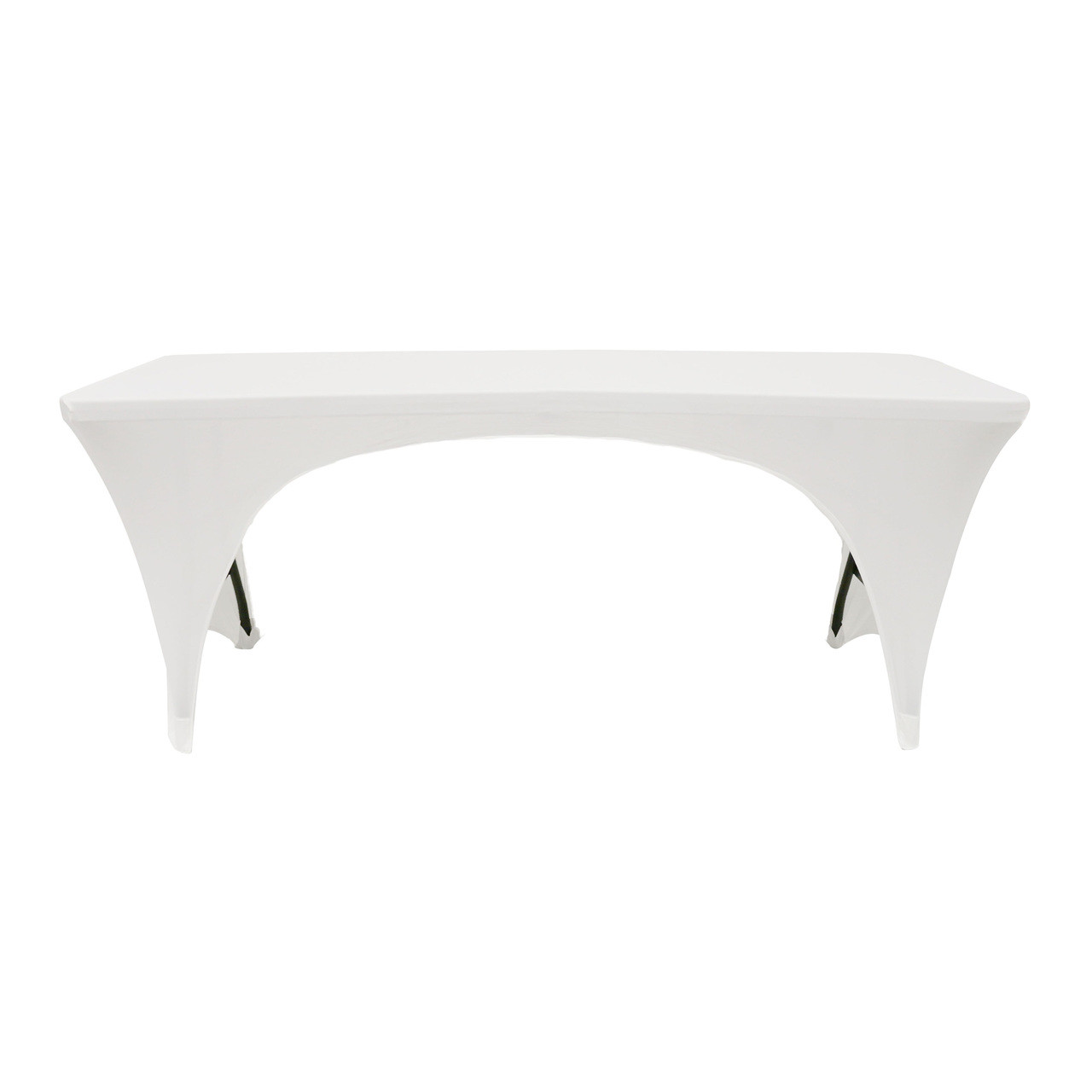 b68fbb4d7b3d Stretch Spandex 6 ft Open Sides Rectangular Table Cover White - Your ...