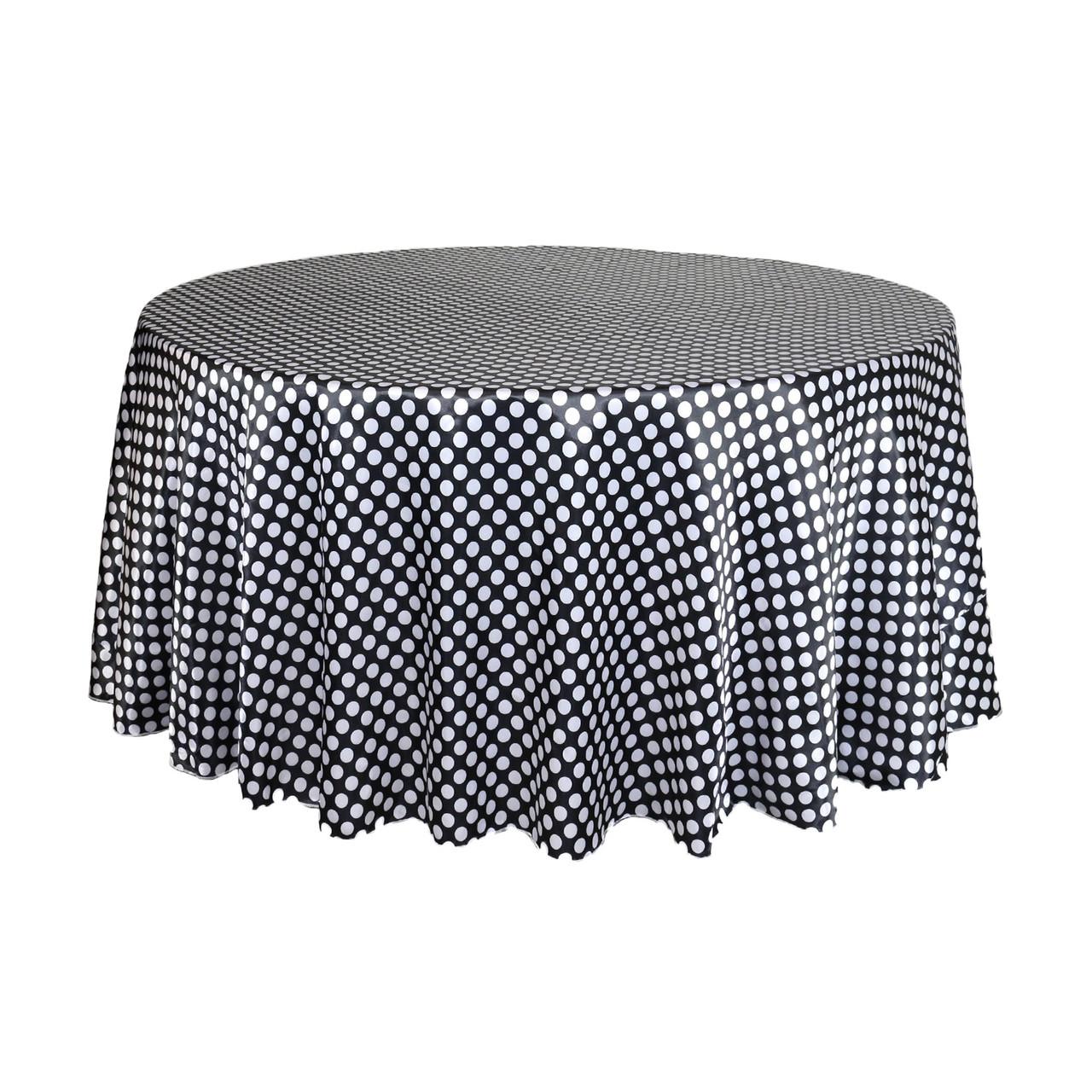 Fantastic 120 Inch Round Satin Tablecloth Black White Polka Dots Beatyapartments Chair Design Images Beatyapartmentscom