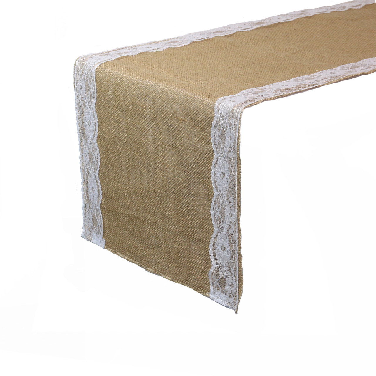 Super 14 X 108 Inch Jute Burlap Table Runner With White Lace Edges Pabps2019 Chair Design Images Pabps2019Com