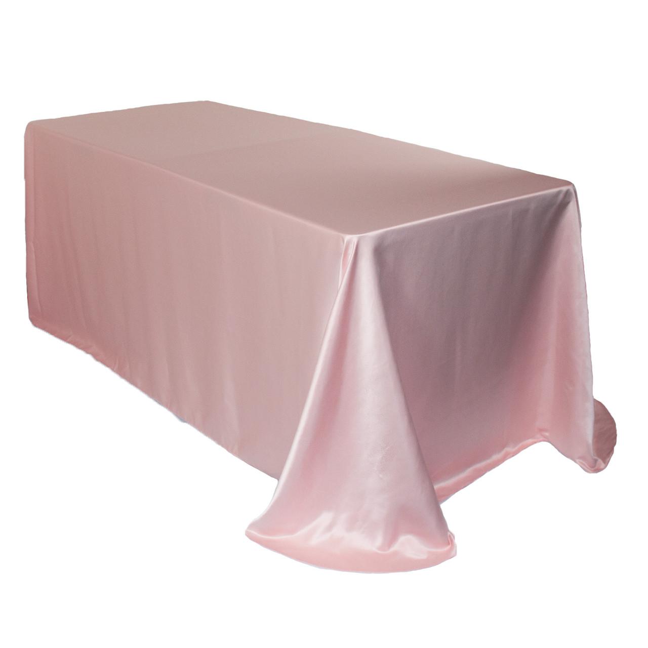 90 X 156 90 X 132 Light Pink Rose Satin Rectangle Tablecloth 55 X 108