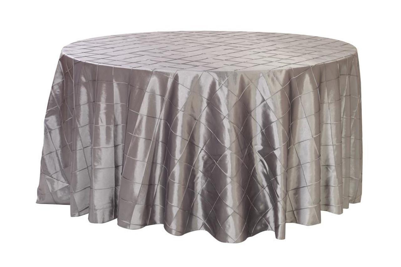 120 Inch Pintuck Taffeta Round Tablecloths Dark Silver / Platinum ...