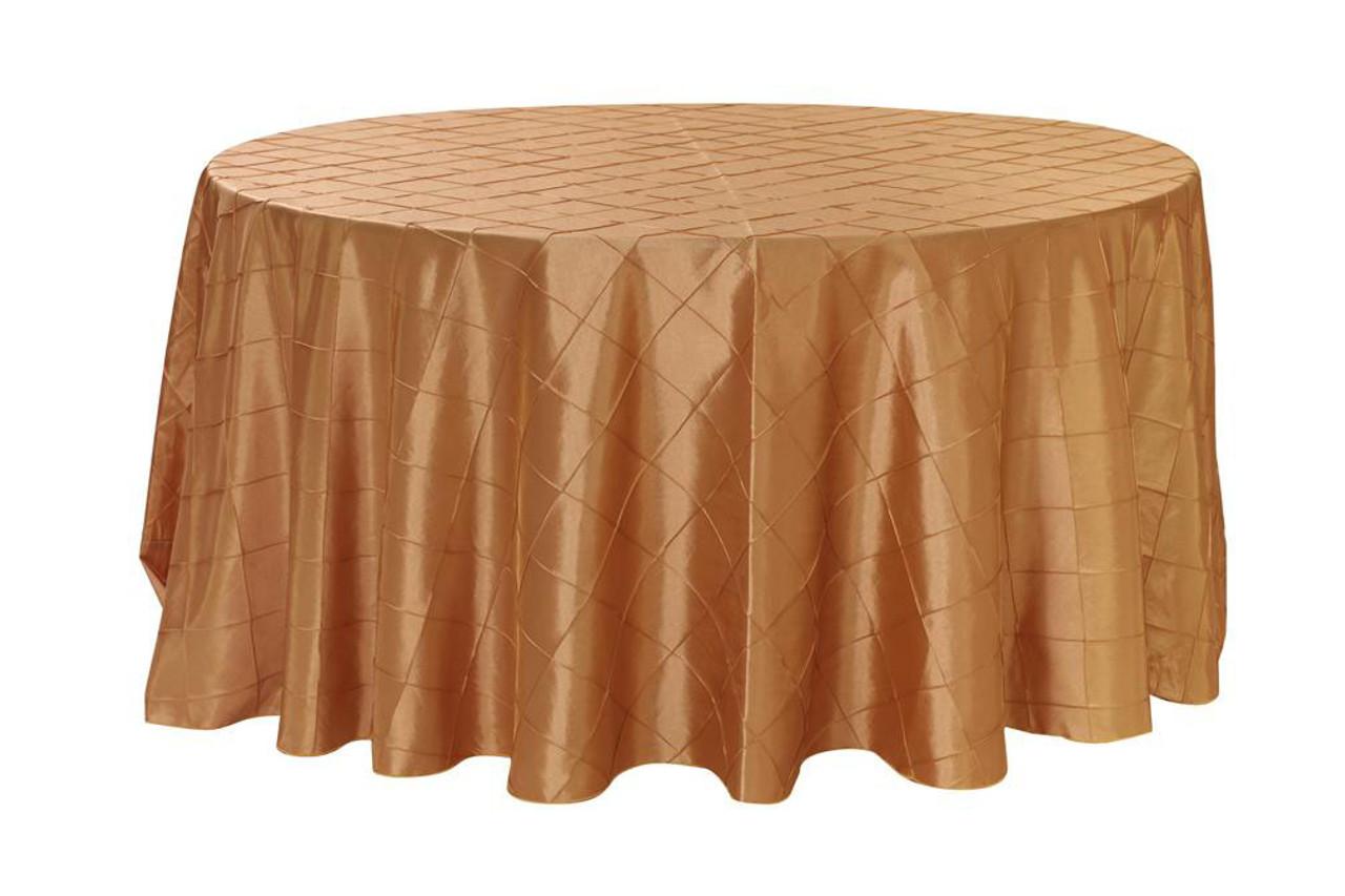 120 Inch Pintuck Taffeta Round Tablecloths Gold ...