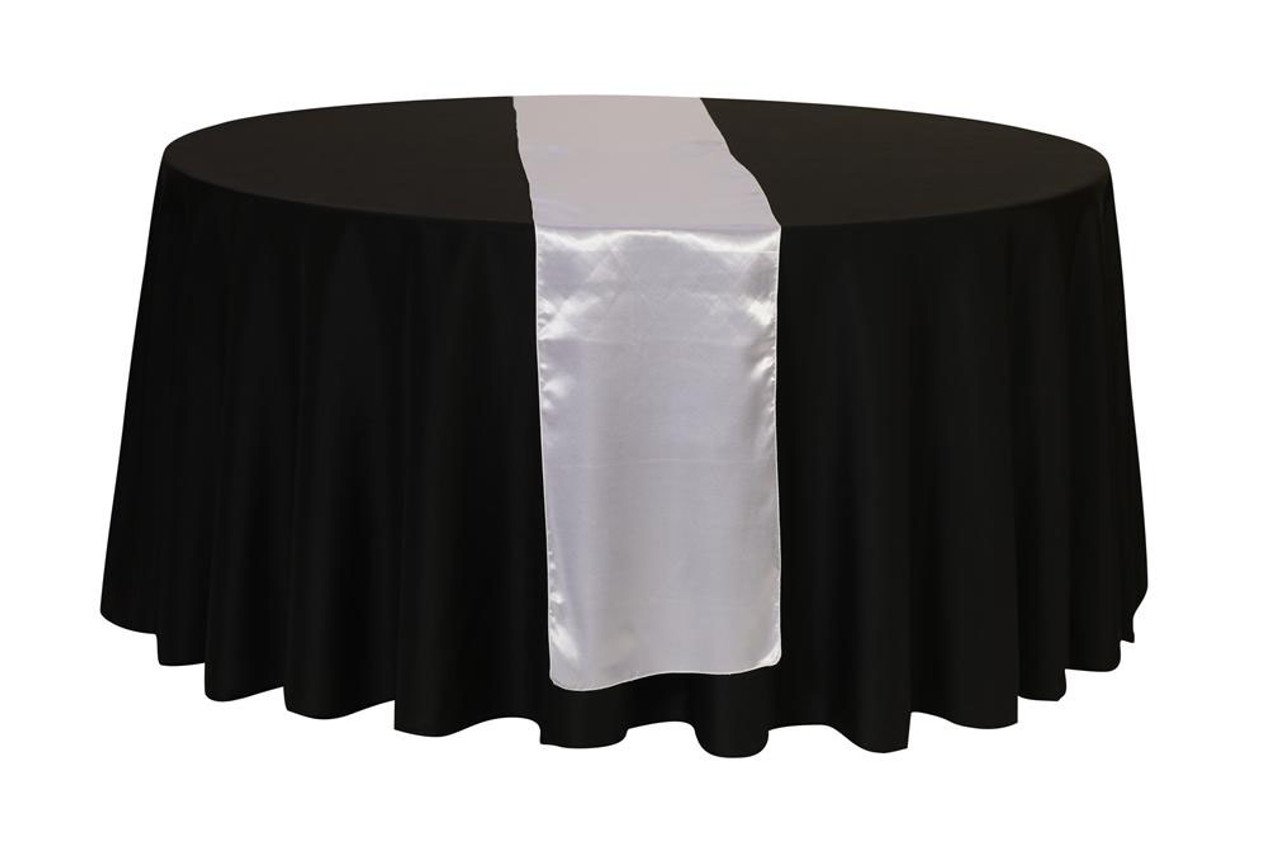 183 & 14 x 108 Inch Satin Table Runner Silver