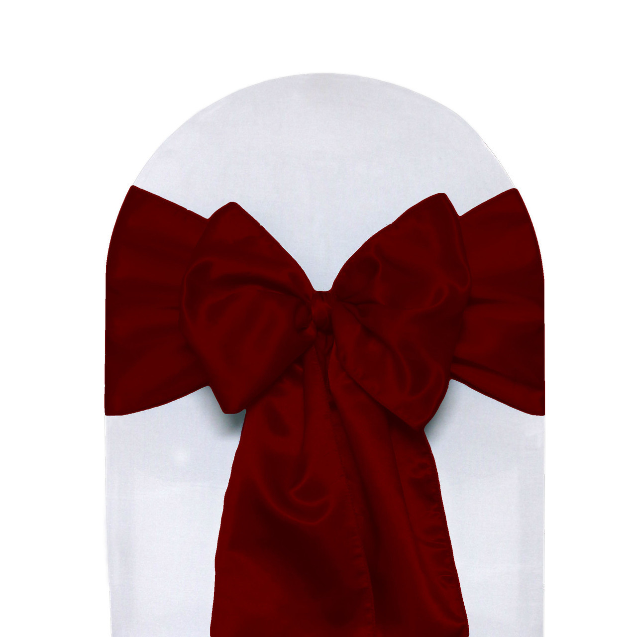 e995e4456b1cfc 10 Pack Satin Sashes Dark Red - Your Chair Covers Inc.