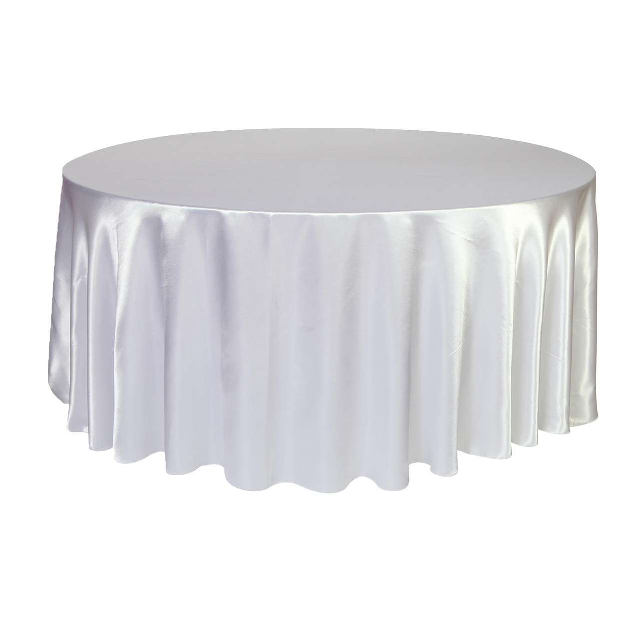 Miraculous 132 Inch Round Satin Tablecloth White Beutiful Home Inspiration Ommitmahrainfo