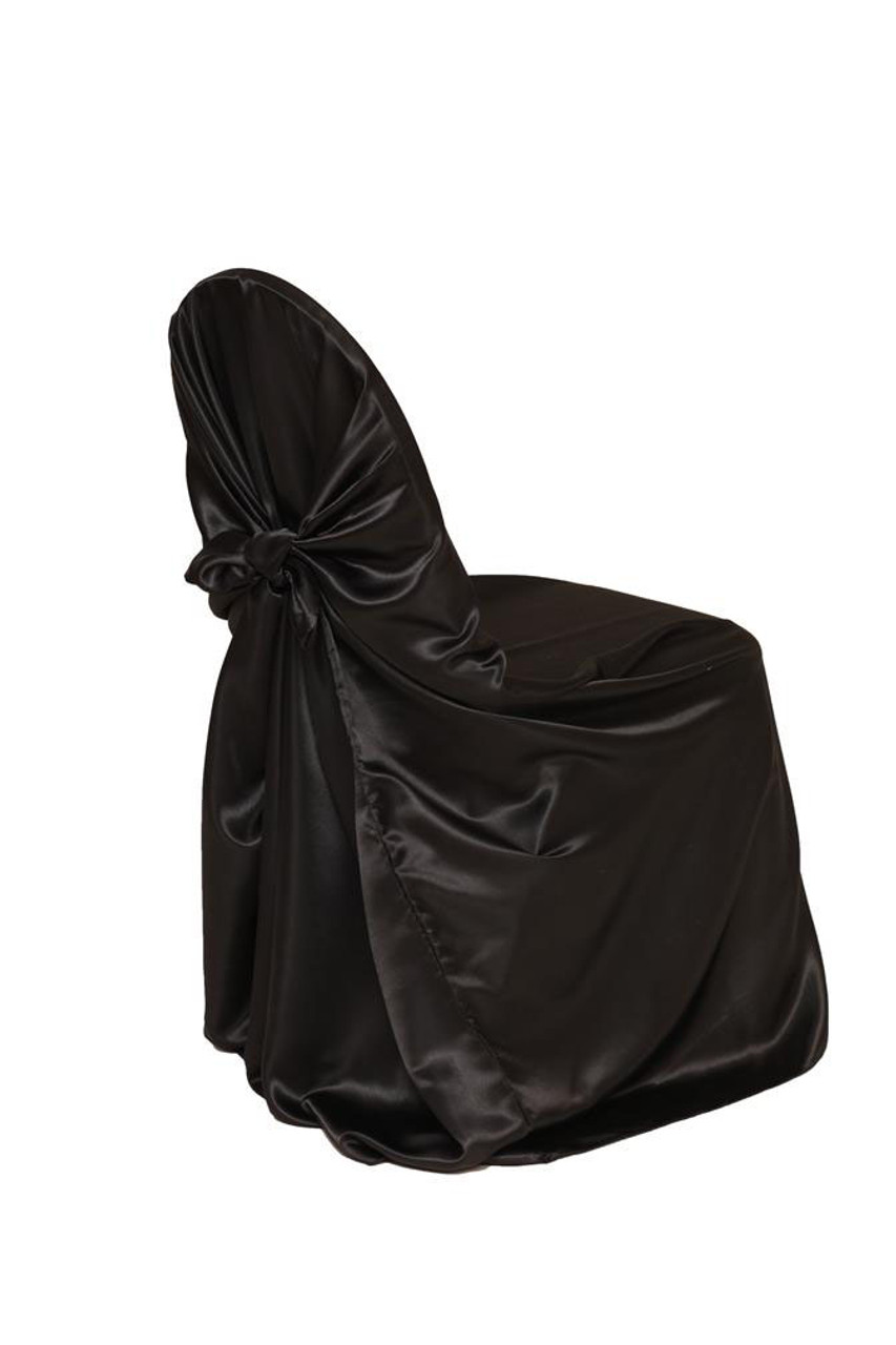 Incredible Satin Self Tie Universal Chair Cover Black Caraccident5 Cool Chair Designs And Ideas Caraccident5Info