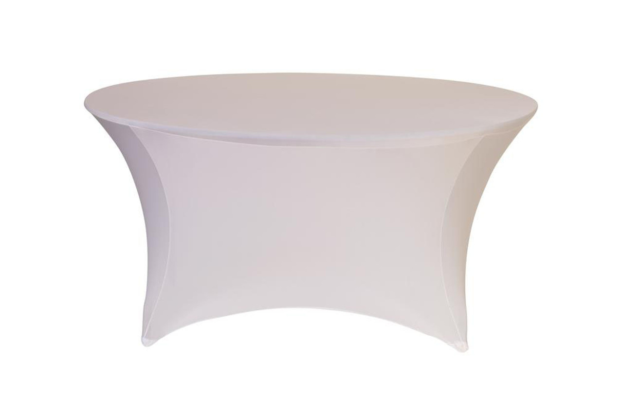 Genial Stretch Spandex 5 Ft Round Table Covers White