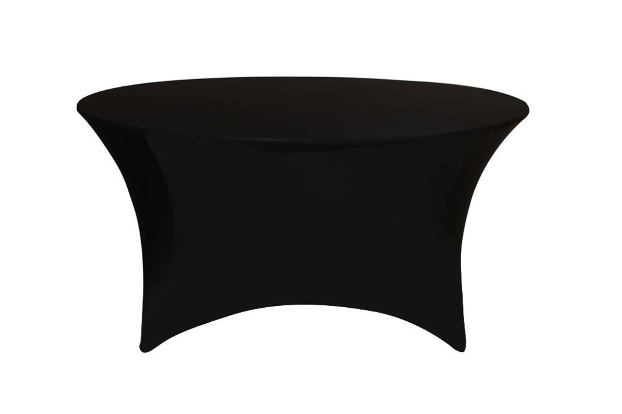 Charmant Stretch Spandex 5 Ft Round Table Covers Black