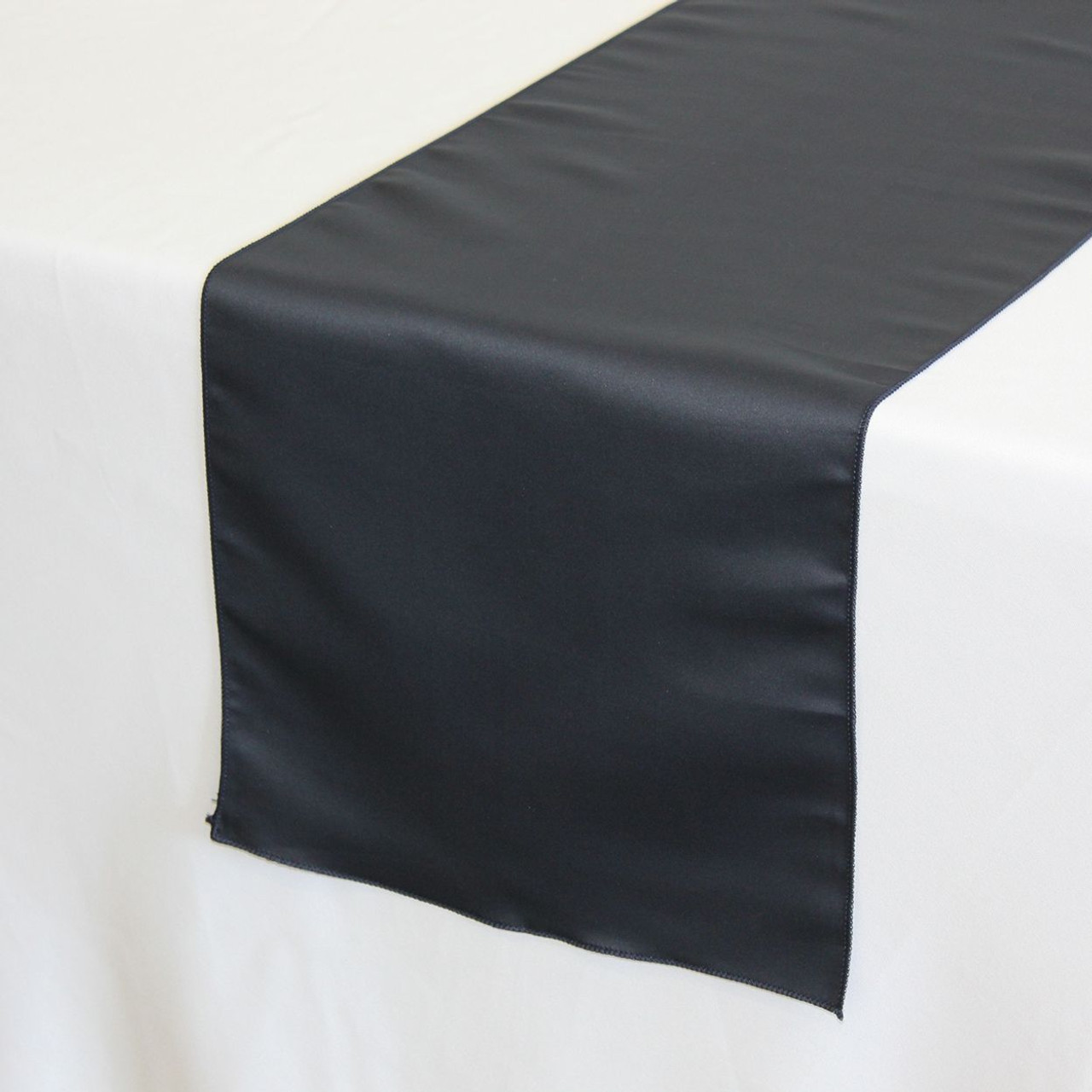 f7023678eaf08 ... 14 x 108 inch L'amour Satin Table Runner in Navy Blue on a white