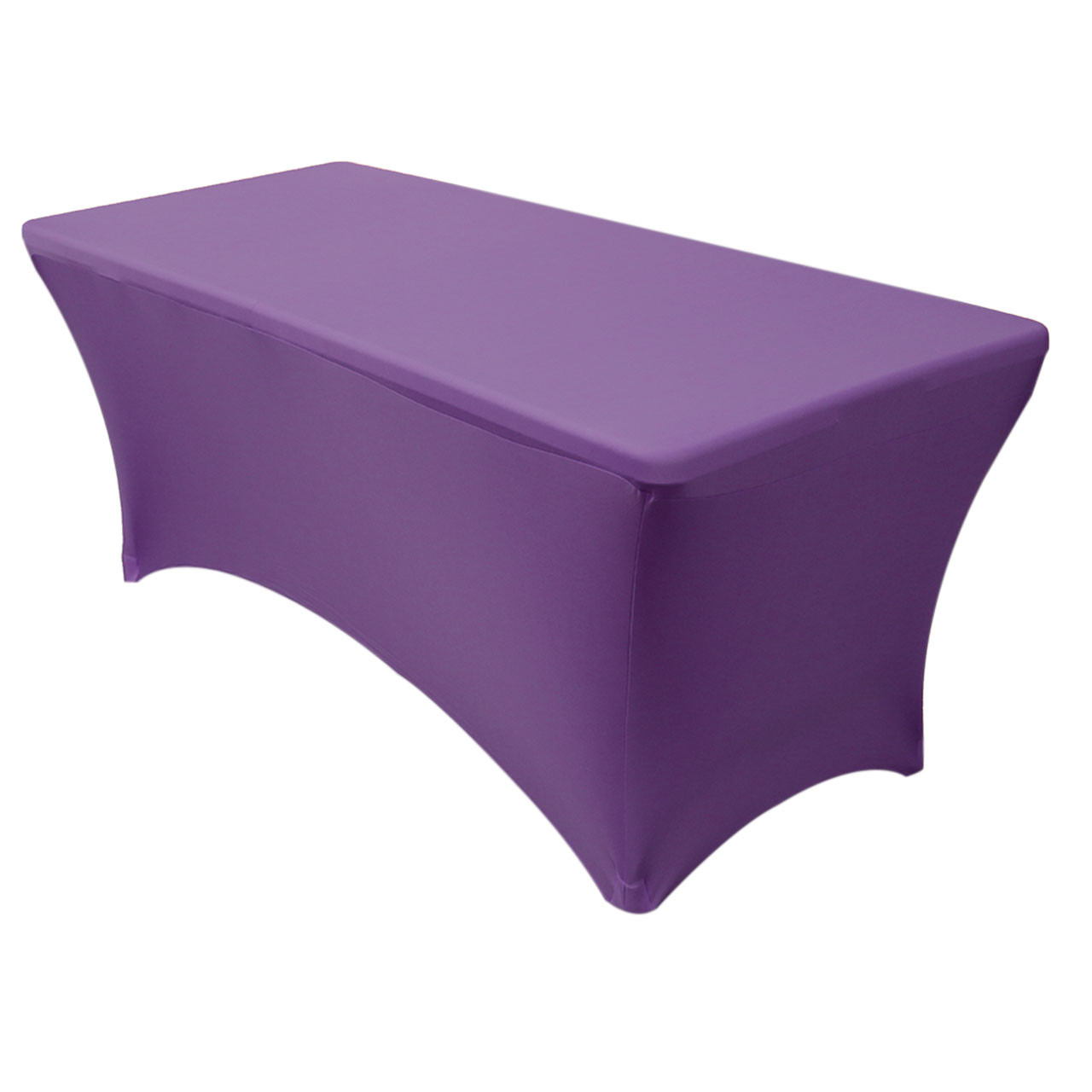 225 & Stretch Spandex 6 ft Rectangular Table Cover Purple