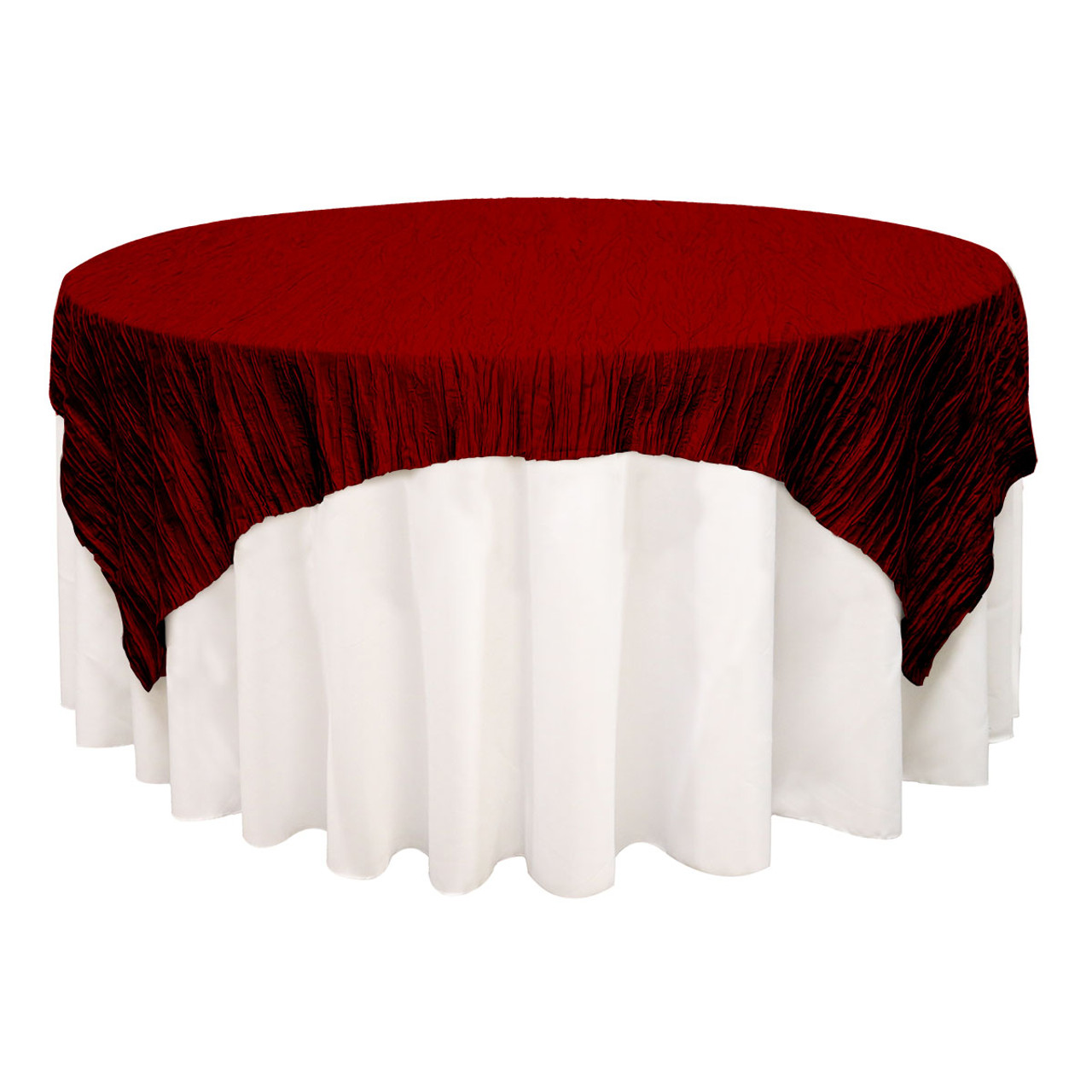Round Table Overlays.90 Inch Square Crinkle Taffeta Table Overlay Burgundy
