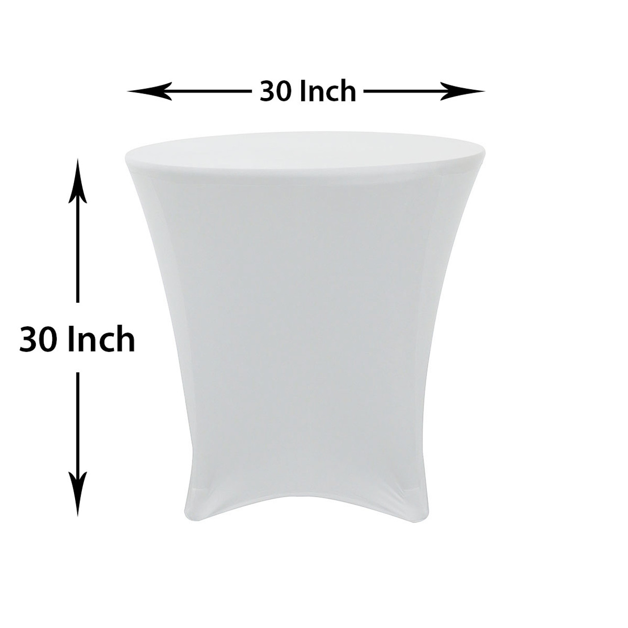 30 X 30 Inch Lowboy Cocktail Round Stretch Spandex Table Cover White