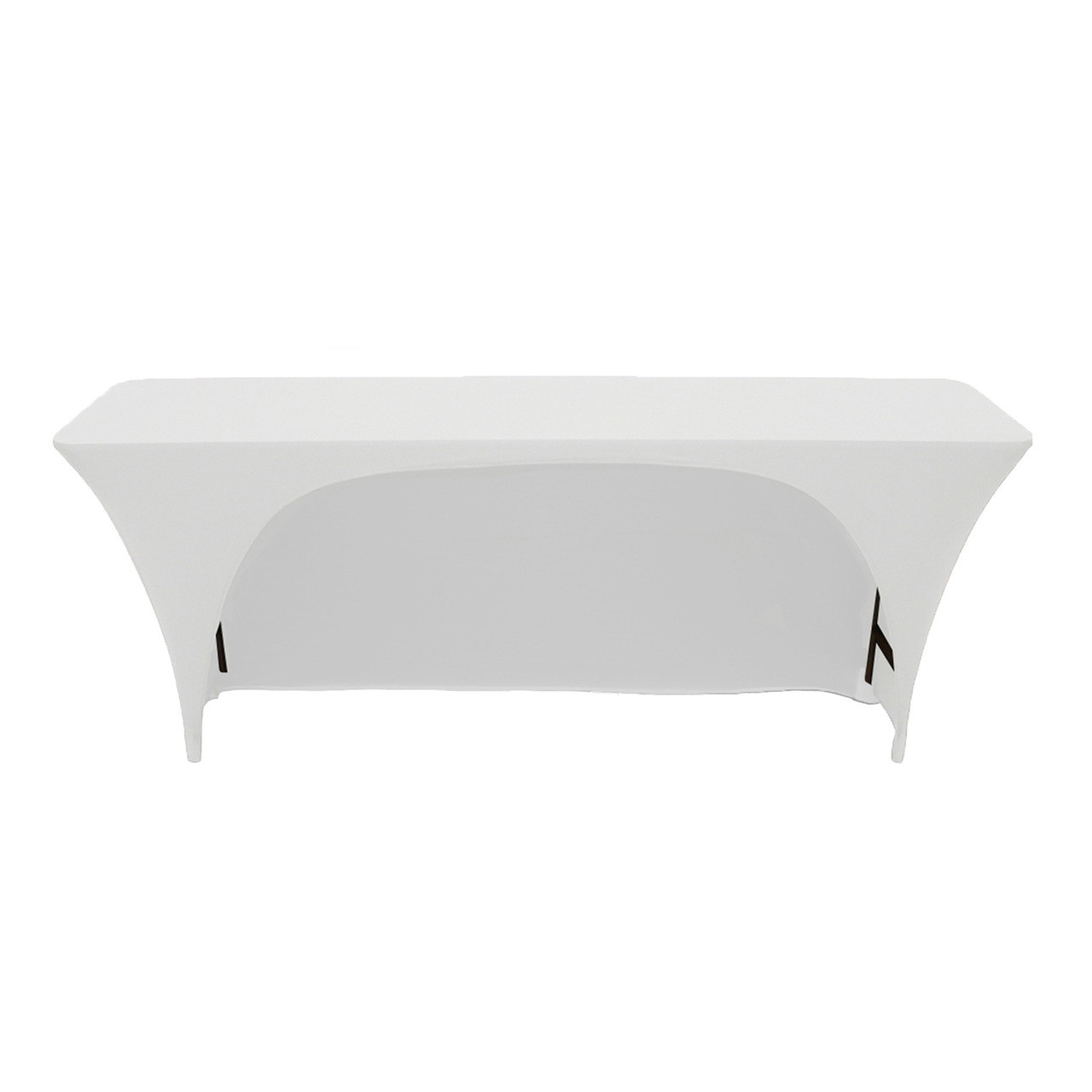 a1bed89a107d Stretch Spandex 6 ft x 18 Inches Open Back Rectangular Table Cover White ...
