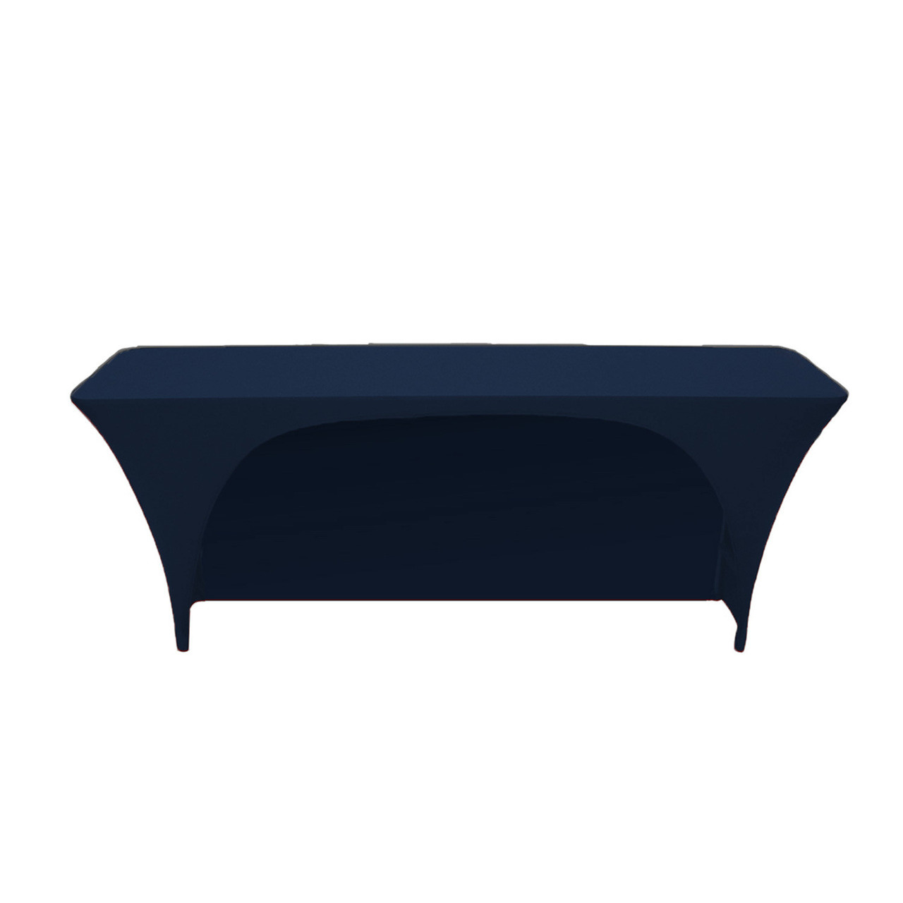 225 & Stretch Spandex 6 ft x 18 Inches Open Back Rectangular Table Cover Navy Blue