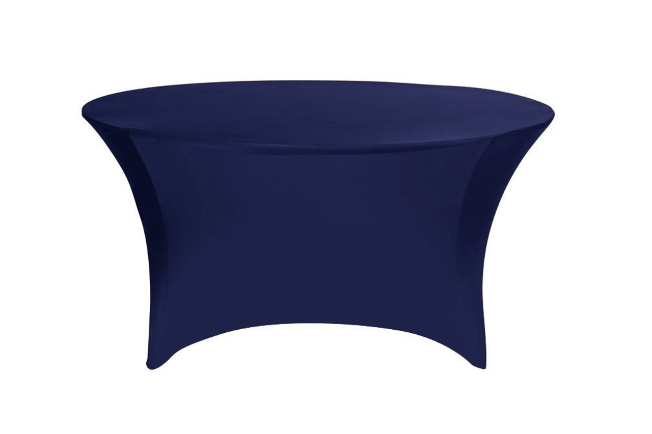 183 & Stretch Spandex 6 ft Round Table Cover Navy Blue
