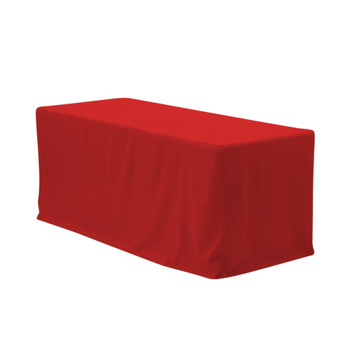 8 ft. Fitted Polyester Tablecloth Rectangular Red