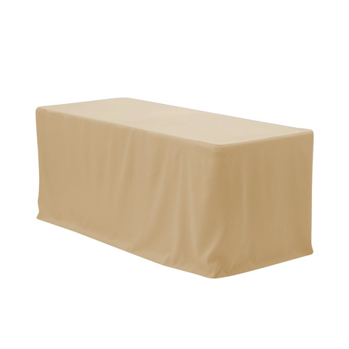 8 ft Fitted Polyester Tablecloth Rectangular Champagne
