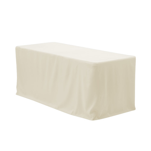 8 ft. Fitted Polyester Tablecloth Rectangular Ivory