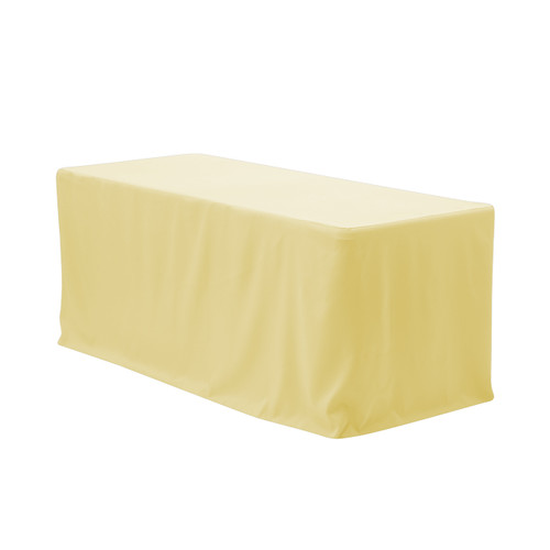 8 ft. Fitted Polyester Tablecloth Rectangular Pastel Yellow